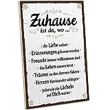 ARTFAVES® Holzschild mit Spruch - ZUHAUSE IST DA WO/Vintage Deko Shabby Chic/Holzbild als Geschenk für Frauen & Männer