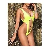 Homeilteds Glänzende Kunstleder Sexy Bauch Twong Frauen Badebekleidung Einteiler Badeanzug Weibliche Badeanzug Schwimmen Strand (Color : Yellow, Size : L.)