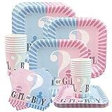 Amycute 84 -teiliges Baby Dusche Party Boy Or Girl Geschirr-Set- Teller, Becher, Servietten, für 16 Personen.
