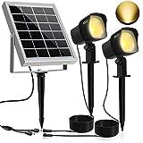 CLY Solarstrahler, Gartenleuchte Solar, 2 Stück Solarleuchten,300ML LED Solarstrahler, Gartenstrahler Solar, warmweiß, IP66 Wasserdicht LED Solarlampe, 2 * 1.5W Solar Außenleuchte