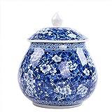 wongwongcat Vorratsdose 900ml, Chinesischer-Stil blaues und weißes Porzellan Keramik Vorratsdose, mit Deckel, Home Küche Esszimmer Dekoration