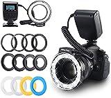 LED Ringblitzleuchte, Emiral - Ringleuchte, Ringblitz mit 48 Makro LEDs und LCD-Display, für Canon/Nikon/Panasonic/Olympus/Pentax SLR Kamera (Makro Ring Kopf, 4X Blitz-Diffusor, 8X Adapterring)
