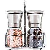 TAHMM Salz- und Pfefferstreuer-Set mit Ständer, Edelstahl, Salzgehalt, manuelle Gewürzmühle (Farbe: Pflaume)