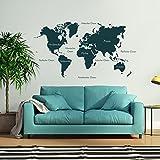 malango® Wandtattoo Weltkarte beschriftet Kontinente Nordamerika Südamerika Europa Afrika Asien Australien Wanddekoration ca. 160 x 88 cm dunkelblau