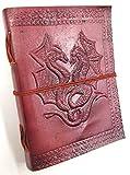 Kooly Zen Notizblock, Tagebuch, Buch, echtes Leder, Vintage, Doppel-Drache, 13 cm x 17 cm, Premiumpap