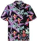Tom Selleck Original Hawaiihemd, Kurzarm, Jungle Bird, Schwarz, S