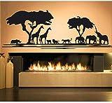 Afrika Savanne Tier Baum Wandtattoo Wohnkultur Wohnzimmer Afrikanischen Zoo Kindergarten Kinderzimmer Dekor Dschungeltiere Aufkleber 120X42 C