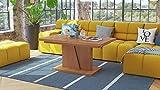 Design Couchtisch Tisch Grand Noir stufenlos höhenverstellbar ausziehbar 120 bis 180cm Esstisch (Erle)