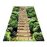 Anpassbare 3D Läufer modern Teppiche Flur Weich Dauerhaft rutschfest Nicht Verblassen Pflegeleicht Haushalt Hotel Holzbrücke Wald Schneidbar,A,80x250