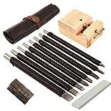 GORGECRAFT 8-teiliges Holzmeißel-Messer-Set, Wolframstahl, Stein, Holzschnitzwerkzeug, Werkzeug-Set mit Leder-Rolltasche, Holzsiegel, Gravurklemme, Stempelsteine