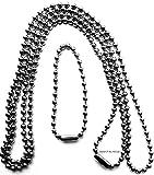 Edelstahlkette Kette V4A Kugelkette Halskette für Anhänger Biker Dog Tag Ø 2,4 mm, ca. 70 + 11 cm, E