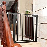 JHAISMAO Schutzgitter Treppe 75-82   28 cm Verlängerung/ohne Bohren/Türschutzgitter Metall Selbstschließend   Treppenschutzgitter Türgitter Klemmgitter(Size:75-82cm,Color:Black)