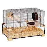 Ferplast Käfig für Hamster oder Mäuse KARAT 80 Kleine Nagetiere, Zwei Ebenen mit Zubehör, aus Glas und Metallg