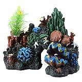 Gaeirt Aquarium Felsen, 5,1 * 3,1 * 3,7 Zoll Kunstharz Korallen Aquarium Felsen, Riffaquarium Zubehör, Aquarienpflanzen Korallen Aquarium Dekorationen Fischversteck