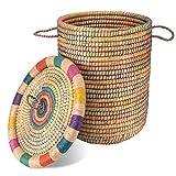 Gruener Handel Kollektion Marrakesch - Wäschekorb mit Deckel Ø 40cm - Natur - Handarbeit - Fair Trade