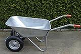 Schubkarre mit 2 Rädern, 100L, Stahl, robust, Beschichtet, Luftreifen mit Stahlfelge