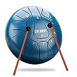 LOLUNUT Schlagzeug aus Stahl mit Musiknotenpunkten 11 Noten 25,4 cm, anwendbar für Musikerziehung, Geistheilung, Yoga Meditation (Ripples blue-8 Zoll)