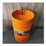 YQX Bar Retro Badezimmer Waschbecken Für Industrie Stil Umgebung, Kreative Schmiedeeiserne Standwaschbecken Freistehend Mit Wasserhahn Und Abfluss-Combo 58x58x90cm Home-Dekoration(Color:Orange)
