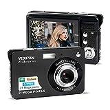 VOXPAN Digitalkamera für Anfänger, 8X Digital Zoom HD Digitalkamera Fotoapparat 21 MP 1080P HD 2,7 Zoll Foto Kompaktkamera Mini-Fotokamera Klein Geschenk für Kinder Jugendliche Student (Schwarz)