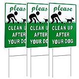 """MUXYH 3 Stück """"Clean Up After Your Dog"""", doppelseitiges Schild für den Außenbereich, 22,9 x 30,5 cm, mit Metall-H-Pflock   kein Hundehaufen   Wellkunststoff"""