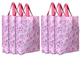 Kuber Industries Wiederverwendbare Einkaufstasche mit Griff, Vliesstoff, Geschenktasche, Goodies Tasche, Werbetasche für Geburtstag, Party, Hochzeit, 6 Stück, Blume (Pink)