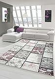 Edler Designer Teppich Moderner Teppich Wohnzimmer Teppich Patchwork Vintage Meliert Karo Muster in Lila Creme Grau Rosa Schwarz Größe 160x230