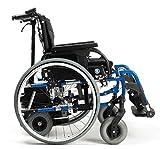 FabaCare Rollstuhl D200-V mit Motor V-Drive und Trommelbremse, Leichtgewichtrollstuhl mit Schiebehilfe, faltbar, Transportrollstuhl, Sitzbreite 52 cm
