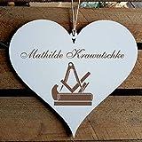 Schild Herz « Tischler » mit persönlicher Wunschgravur und Motiv Zunftzeichen - Deko Dekoration Türschild Name - Tischlerei Schreiner