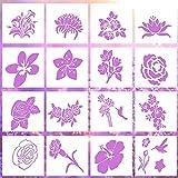 Blumen-Schablonen zum Malen auf Holz, 16 Stück Wandschablonen zum Malen, wiederverwendbare DIY Zeichenvorlage (15,2 x 15,2 cm)