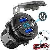 Quick Charge 3.0 USB Steckdose Auto mit Schalter, 12V KFZ Ladegerät USB Einbau Buchse Wasserdicht Zigarettenanzünder Dose mit blau LED Voltmeter Spannungsanzeige für Motorrad Boot LKW Wohnwagen