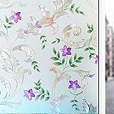 Lila Blume lila Fensterfolie, undurchsichtige statische Schutzglasfolie, klebefreie Glasmalerei Anti-Ultraviolettfolie A40 30x100cm