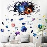 2er Weltraum Erde Space Weltall Galaxy Planeten Wandtattoo, TANOSAN DIY Wandaufkleber Aufkleber Wandbild Removable Decals, 3D Effekt Wallpaper für Schlafzimmer Sofas Wohnzimmer (2er)