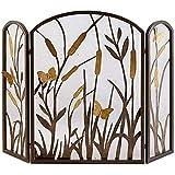 OUPAI Feuerschirm Kamin 3 Bildschirme Kamin Feuerschutz Funkenschutz mit goldenen Schmetterlingsmuster Funkenfeuerwächter mit Mesh-freistehendem Feuerpanel für offenes Feuer, Öfen und Grills