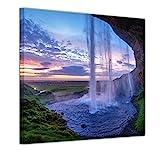 Bilderdepot24 Bild auf Leinwand   Seljalandsfoss Wasserfall Island in 80x80 cm als Wandbild   Wand-deko Dekoration Wohnung modern Bilder   211446B