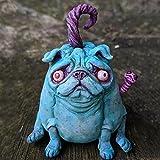 HeiHeiDa Gotisch Mops Skulptur Kürbis Monster Garten-Hund-Statue aus Kunstharz, realistische Tierskulptur für Outdoor-Dekoration, Hunde-Liebhaber, Geschenk für Halloween