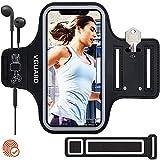 VGUARD Sportarmband Handy,Schweißfest Joggen Handytasche Laufen mit Schlüsselhalter, Kopfhörerloch und Verlängerungsband für (5'-6,5') Handys- Schwarz