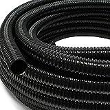 Kosoree 25m Teichschlauch Spiralschlauch 25mm (1') flexibel schwarz Saugschlauch