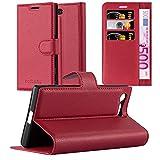 Cadorabo Hülle für Sony Xperia X Compact in Karmin ROT - Handyhülle mit Magnetverschluss, Standfunktion und Kartenfach - Case Cover Schutzhülle Etui Tasche Book Klapp Style