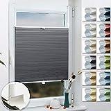 Grandekor Wabenplissee Klemmfix Verdunkelung Thermo Zweifarbig 95x120cm (BxH) Weiß-Grau (Metallzubehör) / Doppelplissee ohne Bohren für Fenster & Tür, Sonnen-, Sicht- & Schallschutz Wärmeisolierung