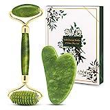 Bubuxy Jade Roller and Gua Sha Massage Set, natürlicher Anti-Aging-Gesichtsroller bei Augenschwellungen, zur Hautstraffung, Verjüngung von Gesicht und Hals, natürlich grünes Massagegerät