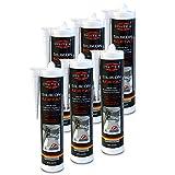 Silikon Sanitär 6 x 300 ml   Transparent   Acetat für Bad Dusche und WC   schimmelresistent   zum Abdichten und Verfugen