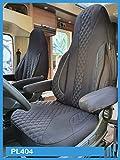 Maß Sitzbezüge Schonbezüge kompatibel mit FIAT Ducato Typ 250 Fahrer & Beifahrer ab 2006 - 2022 PL404 Schwarz