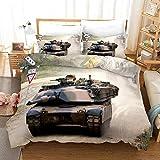 Bettwäsche 140x200cm Angenehme Mikrofaser Bettbezug Set Militär begeisterter,Amerikanischer Panzer Landschaft Bettbezüge mit Reißverschluss für Kinder Erwachsene 2 Kissenbezug 80x80cm
