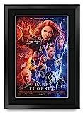 HWC Trading X-Men Dark Phoenix A3 Gerahmte Signiert Gedruckt Autogramme Bild Druck-Fotoanzeige Geschenk Für Clint Eastwood Tom Hanks Filmfans