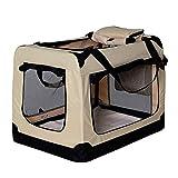 lionto by dibea Hundetransportbox Hundetasche Hundebox faltbare Kleintiertasche Größe (S) 50x34x36 cm Farbe Beige