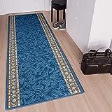 TAPISO Anti Rutsch Teppich Läufer rutschfest Brücke Meterware Blau Gelb Ornament Design Meliert Flur Küche Wohnzimmer 80 x 400