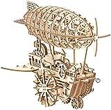Simulus 3D Holzpuzzle: Aufziehbares Holz-Luftschiff im Steampunk-Stil, 349-teiliger Bausatz (3D Bausatz)