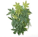 aipipl Grüne künstliche Pflanze gefälschte Blätter, Aquarium Aquarium Reptilien Terrarium Ornamente Dekor, Kunststoff, Grü