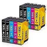 AOIOI 18XL Druckerpatronen Ersatz für Epson 18 18XL Patronen Kompatible für Epson Expression Home XP-202 XP-205 XP-215 XP-225 XP-305 XP-312 XP-322 XP-325 XP-402 XP-405 XP-412 XP-415 XP-425 (10 Pack)