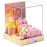 Fsolis DIY Puppenhaus Miniatur-Kit mit Möbeln, 3D Holz Miniaturhaus mit Staubschutz, Mini-Puppenhaus Kit Kreatives Geschenk (QT28)
